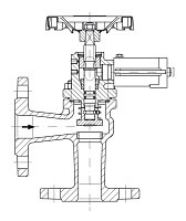 AW 33315 Quick-closing Valve, springloaded, angle pattern, hydr./pn. operation, fire safe