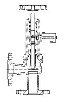 AW 33306 Quick-closing Valve with bellows seal, angle pattern, manual operation